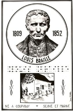 engraved image of Louis Braille and his birthplace