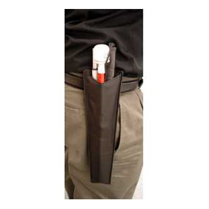 AmbuTech Black Leather Cane Holster with Belt Clip