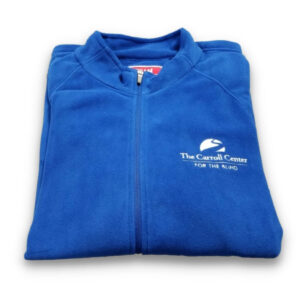 Blue Carroll Center Fleece Jacket. On the left breast pocket is the Carroll Center for the Blind logo in white stitching.