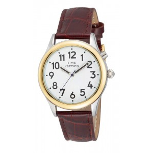 Mens Dual Voice Talking Watch With Leather Strap