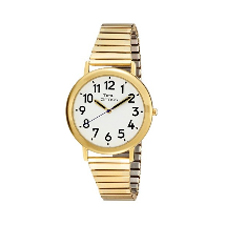 ILA Men Jumbo Gold Tone Low Vision Watch with Flex Expansion Band