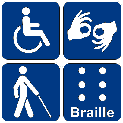 A square is divided into four sections containing icons. Clockwise from top left; a handicap person in a wheelchair, hands signing in ASL, a Braille cell, a person walking with a cane.