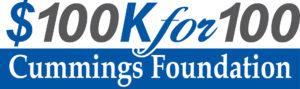 The logo for the Cummings Foundation $100K for 100 grant program.