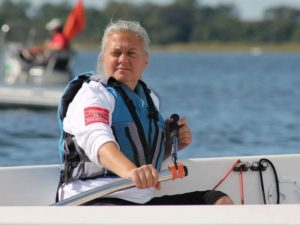 Pauline Dowell. a sailor who is visually impaired, competes in competitions around the world.