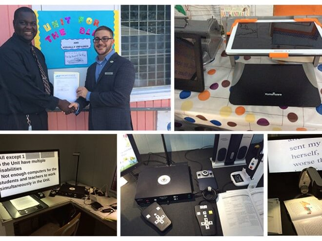 A collage of five photos; many contain various assistive technology devices that were donated.