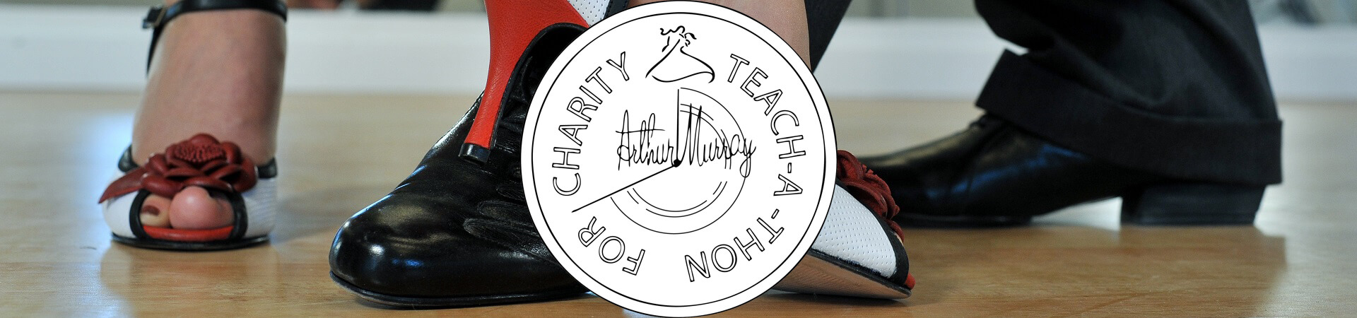 A close-up of the feet of two people dancing. The 11th Annual Teach-A-Thon logo is superimposed on top of the dancers.