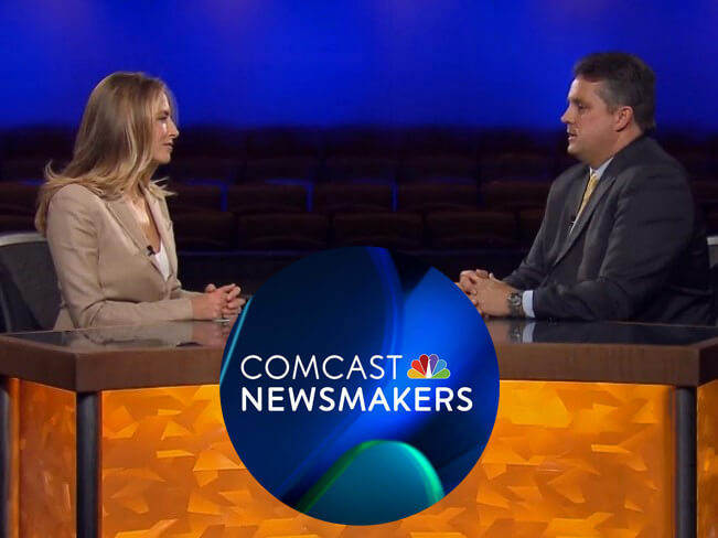 Comcast Newsmakers host, Jenny Johnson, sits across from Carroll Center for the Blind President and CEO, Greg Donnelly.