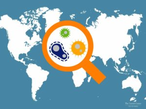 A world map graphic features an orange magnifier glass magnifying three virus'.