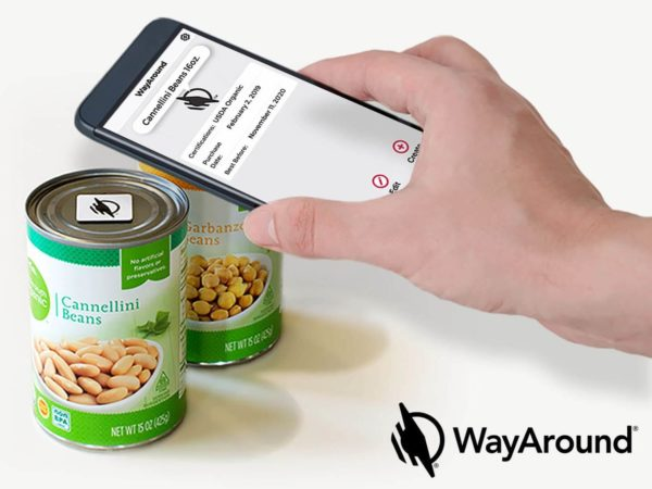 A person holds their smartphone above a can. They use the WayAround app to identify the can of Cannellini Beans.