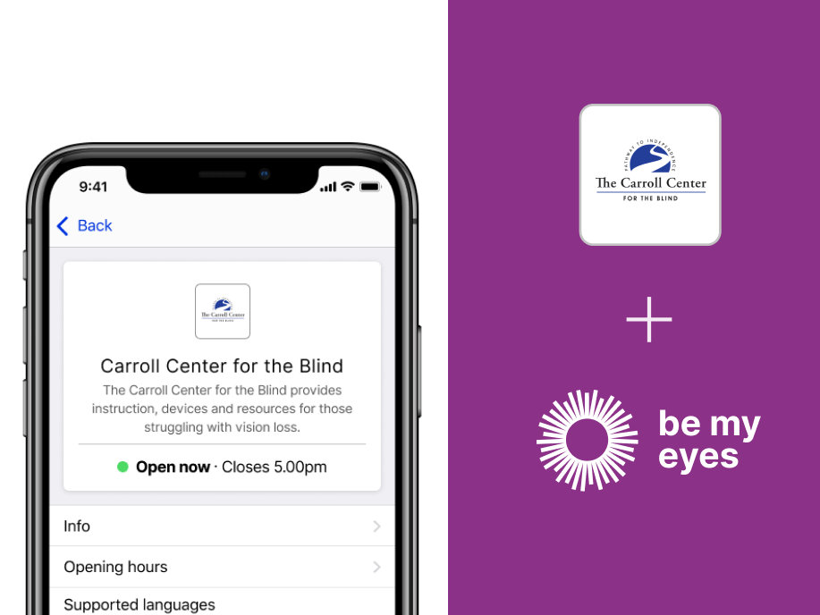Smartphone displaying the Carroll Center for the Blind specialized help profile in the Be My Eyes app.
