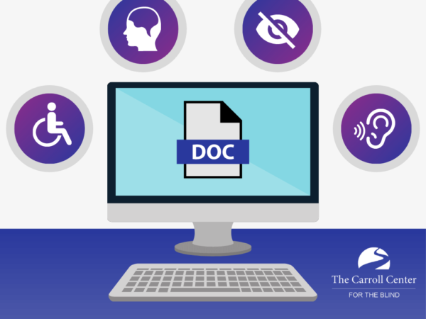 Icon of computer displaying a word document surrounded by four icons; a handicap symbol, head, eye and ear.