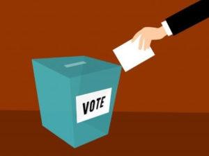 Cartoon of a person dropping their ballot in a ballot box.