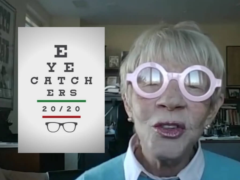Beside the Eye Catchers 20/20 logo is host Carol Bortman who has short hair and is wearing round, pink glasses.
