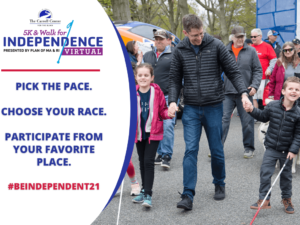 """A father and his two kids smile as they depart the starting gate at a past walk for independence. Beside them is text that reads, """"Pick the page, choose your race, participate from your favorite place. #BeINDEPENDENT21."""""""