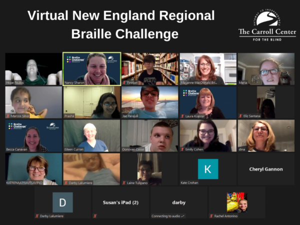 Screenshot of 24 participants in gallery view during the 21st annual new england regional braille challenge virtual zoom awards ceremony.