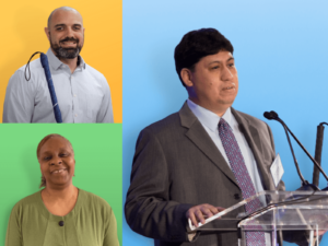 Collage of the 2021 Carroll Society Award Winners. Clockwise, from top left, Robert Dias, Joseph Quintanilla and Cheryl Cumings.
