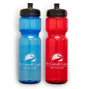 A solid red and solid blue transparent plastic Carroll Center for the Blind Water Bottle side by side. Each has the Carroll Center for the Blind logo and website URL in white.